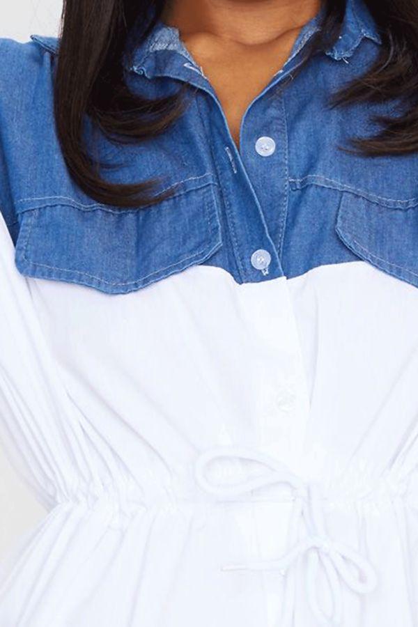 White Denim Contratsed Shirt Dress