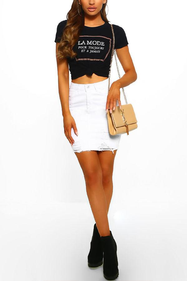 White Distressed Hem Denim Skirt