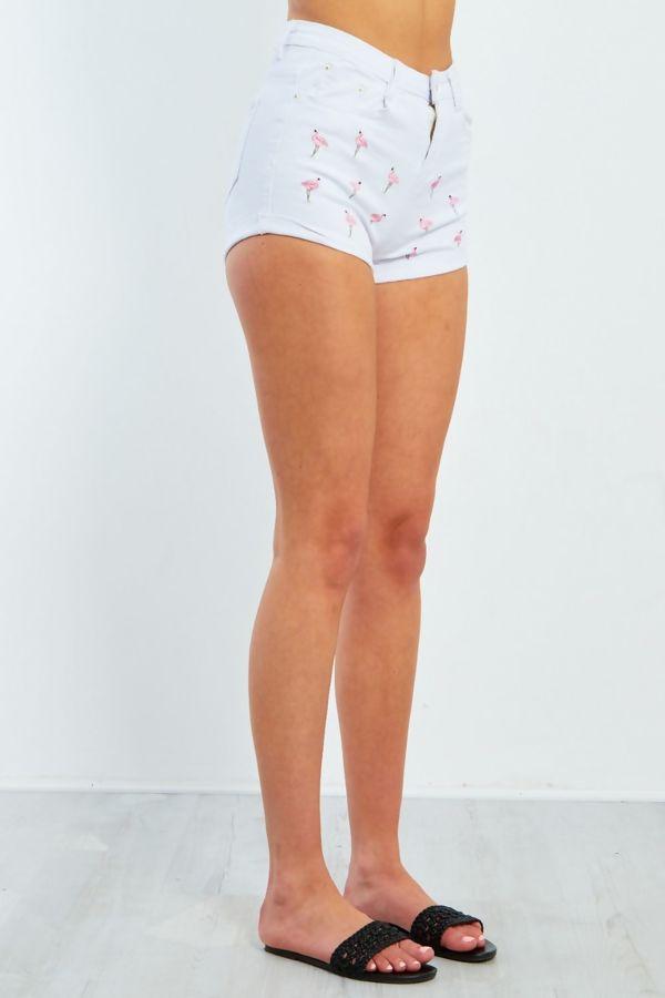 White Flamingo Embroidered Denim Shorts