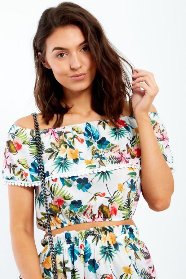 White Floral Bardot Crop Top And Shorts Co-ord Set