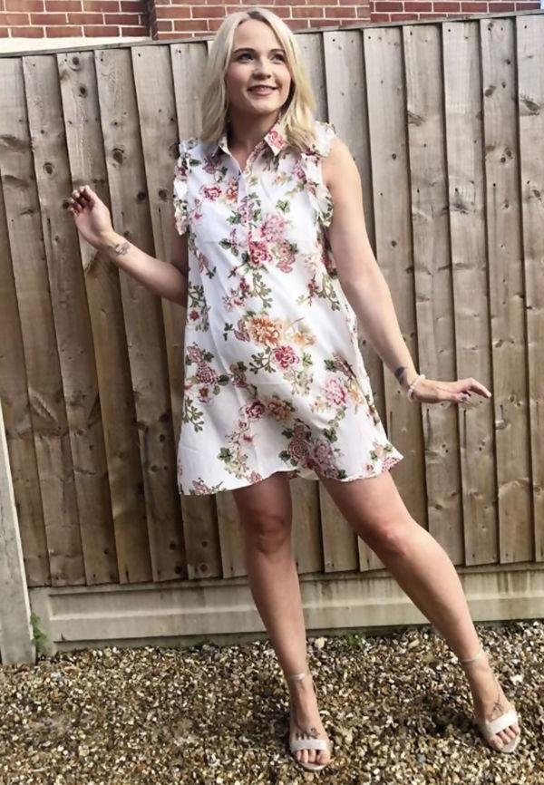 White Floral Frill Shirt Dress