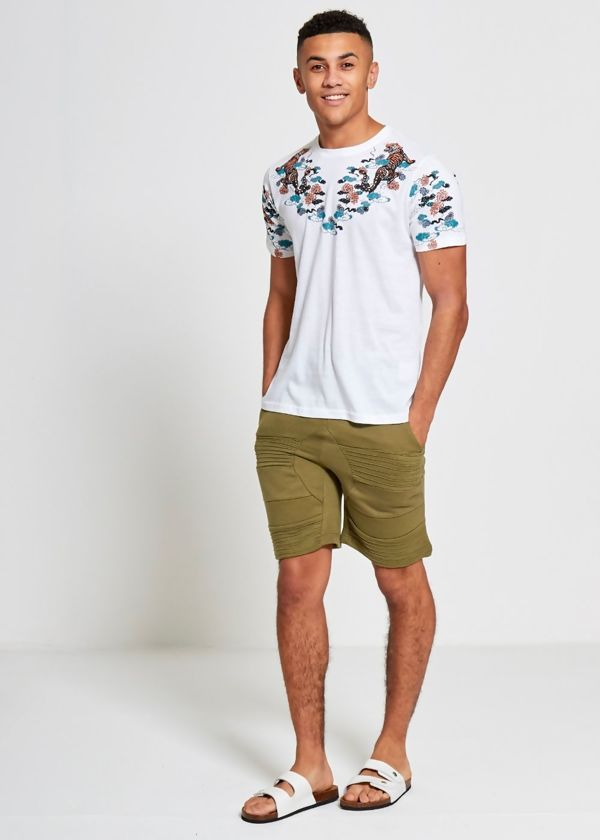 White Floral Tiger Print T-Shirt