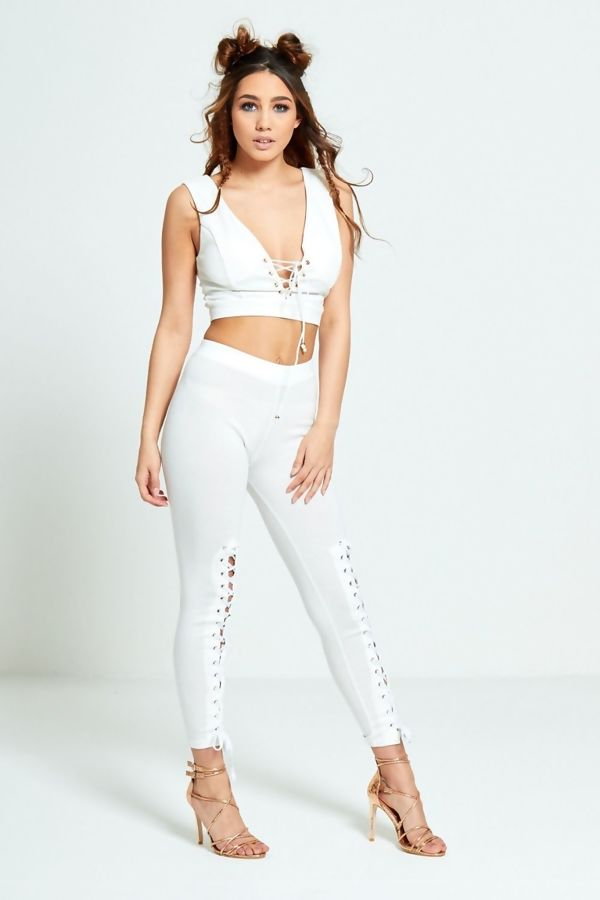 White Front Lace Up Leggings