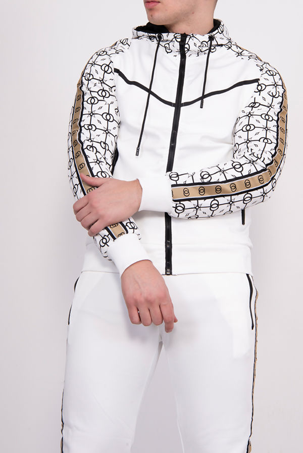 White Geometric Printed Hooded Skinny Tracksuit
