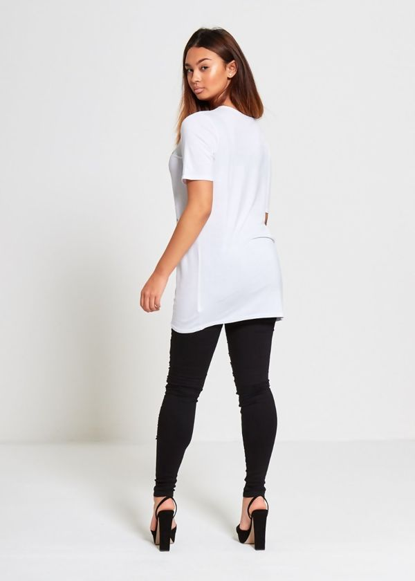 White Glitter Prosecco Longline Christmas T-shirt