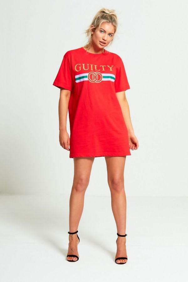 White Guilty Slogan T-Shirt Dress