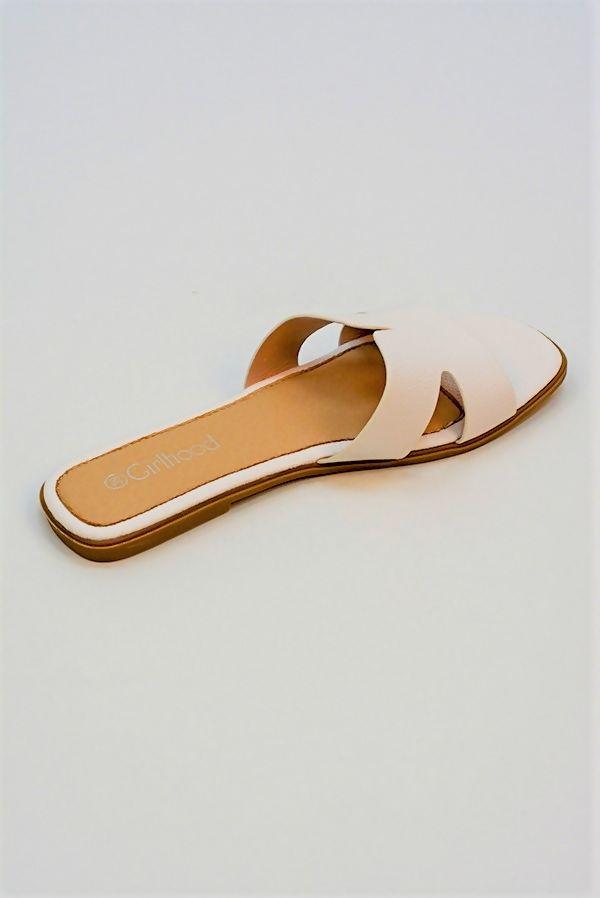 White H Style Flat Slider Sandal