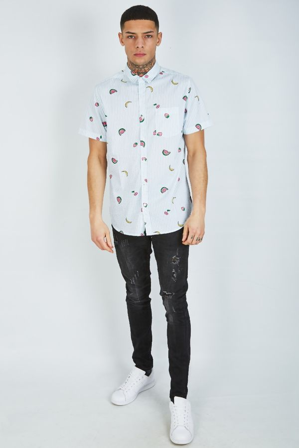 White Half Sleeve Melon Shirt