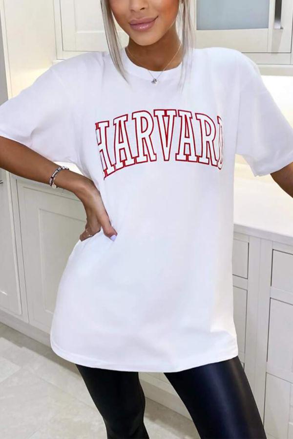 White Harvard Oversized Tee