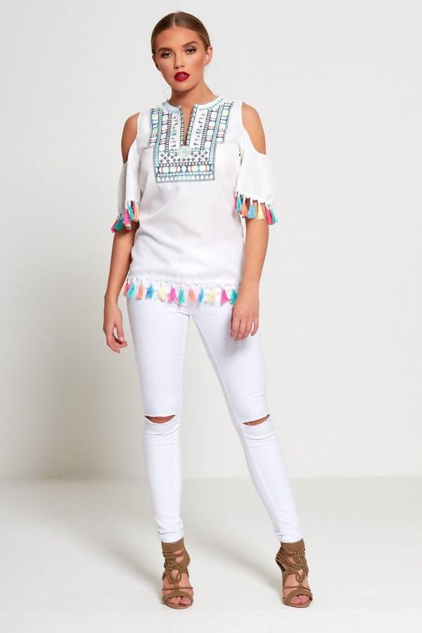 White Knee Ripped High Waist Skinny Jeans