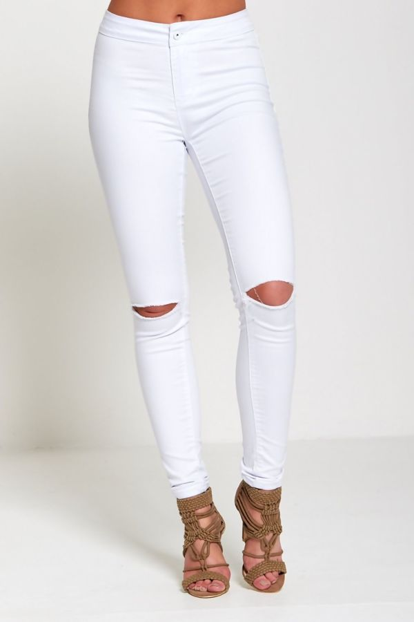 White Knee Ripped High Waist Skinny Jeans
