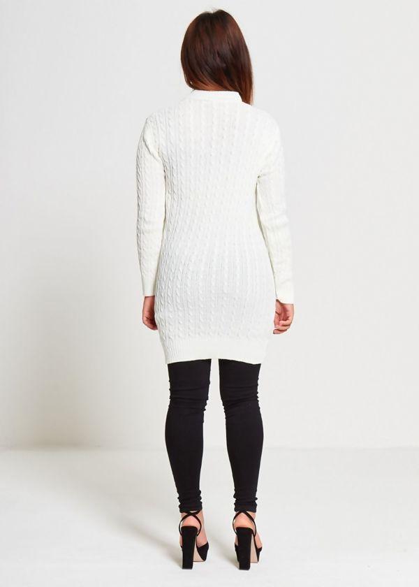 White Knitted Choker Jumper