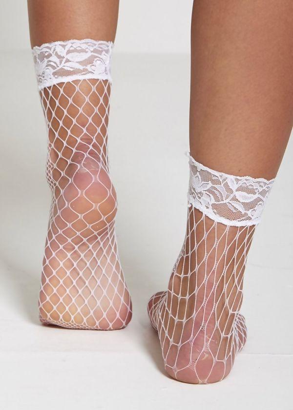 White Lace Fishnet Socks