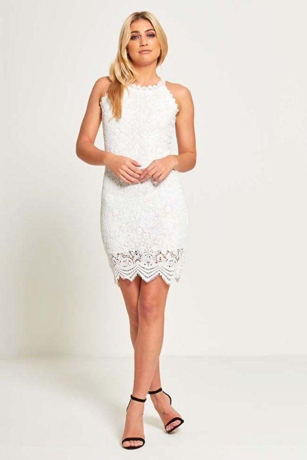 White Lace Trim Overlay Mini Dress