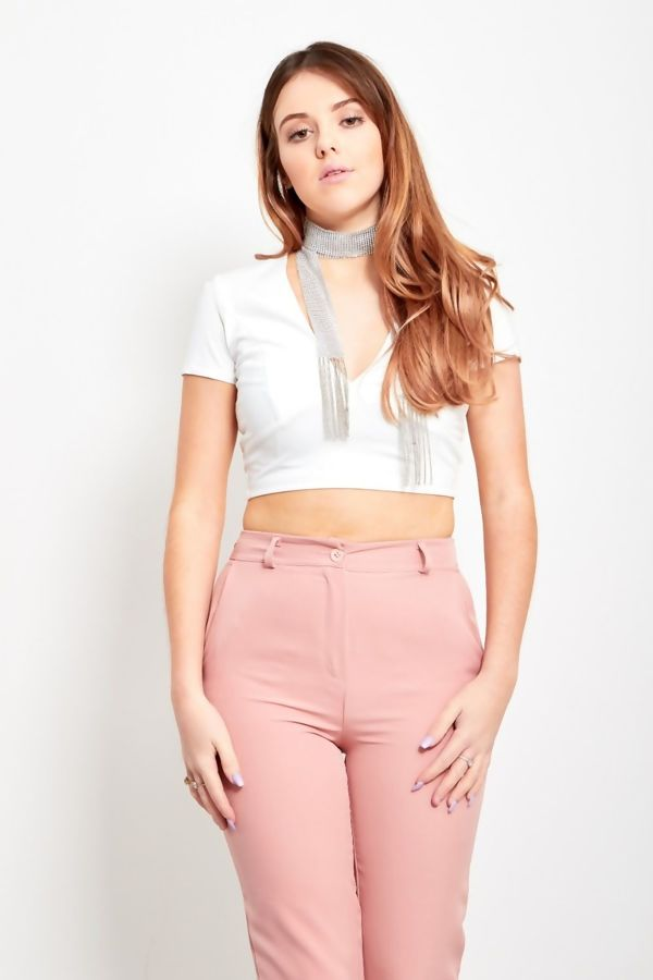 White Lace Up Back Plunge Crop Top