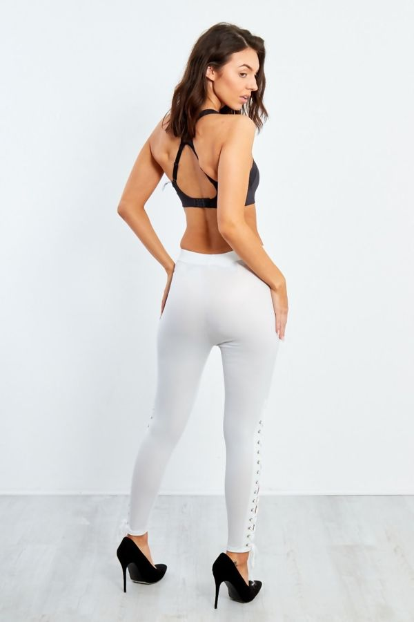 White Lace Up Hem PU Leggings