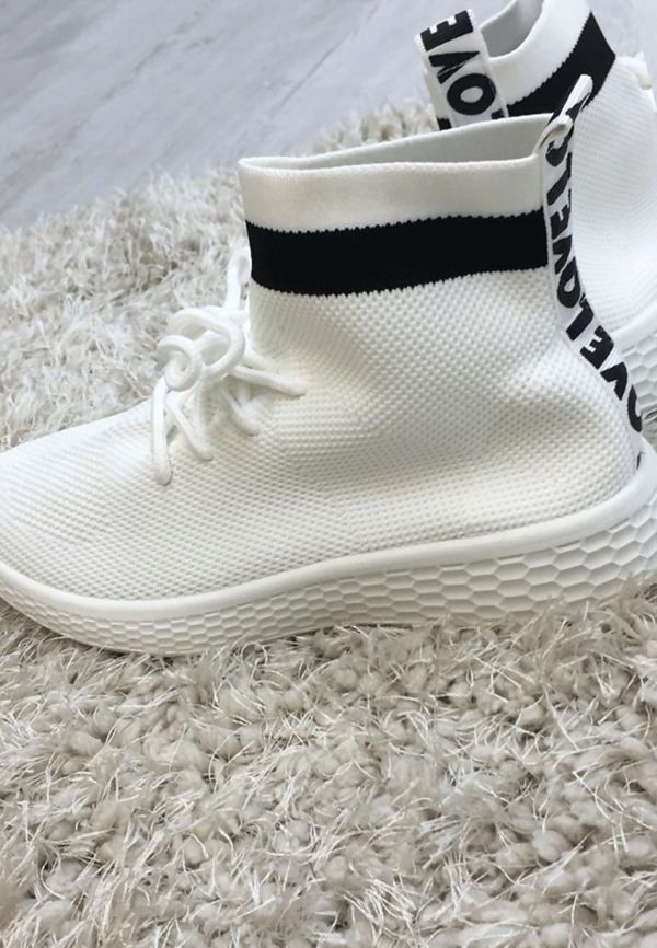 White Lace Up Sock Trainers
