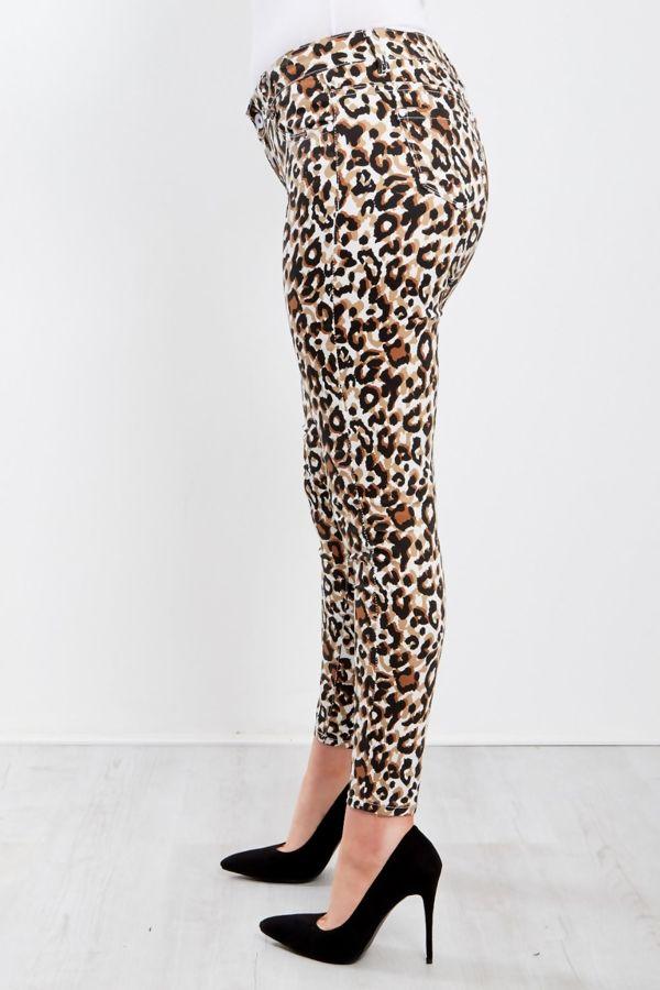 White Leopard Print High Waist Skinny Jeans