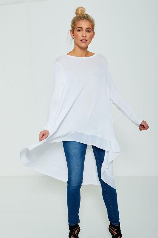 Plus Size White Lightweight Knit Fishtail Top