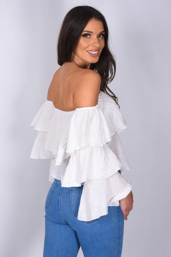 White Linen Bardot Tiered Sleeve Crop Top