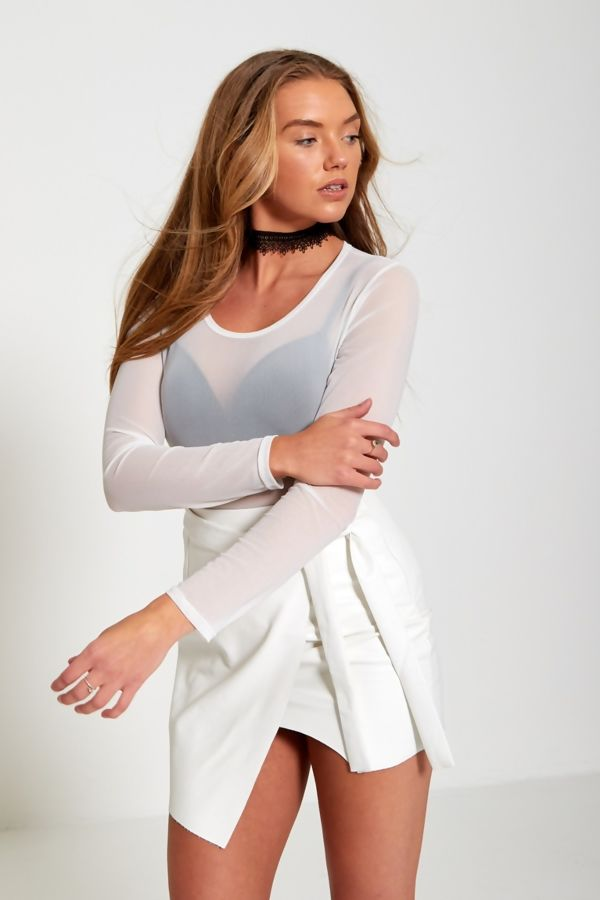 White Long Sleeve Mesh Top