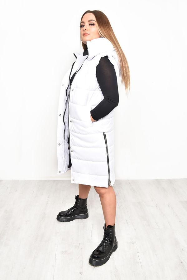White Longline Hooded Puffer Gilet