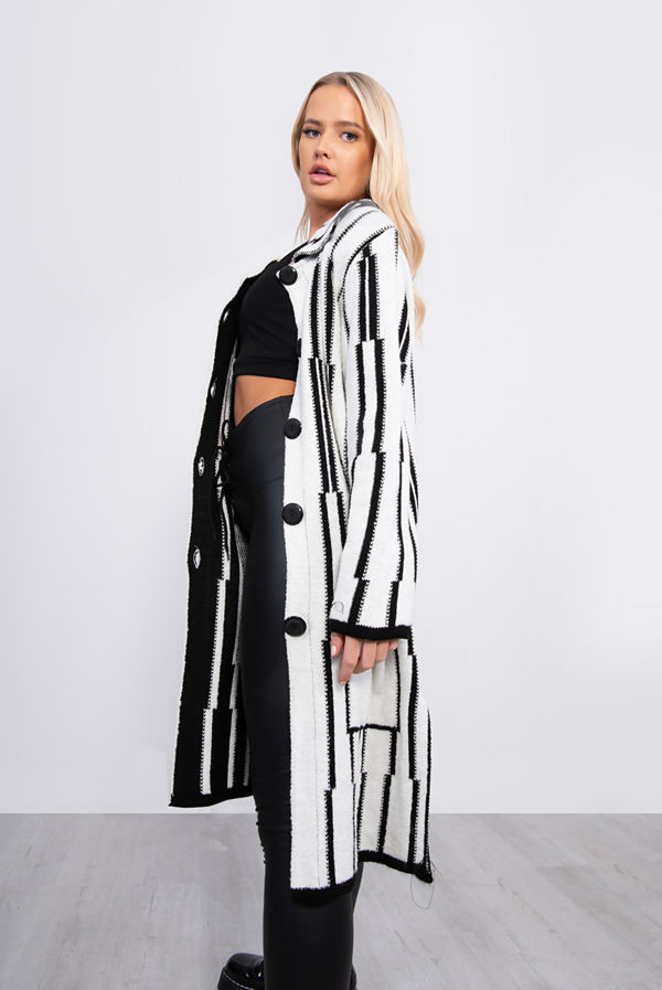 White Longline Stripe Knitted Cardigan