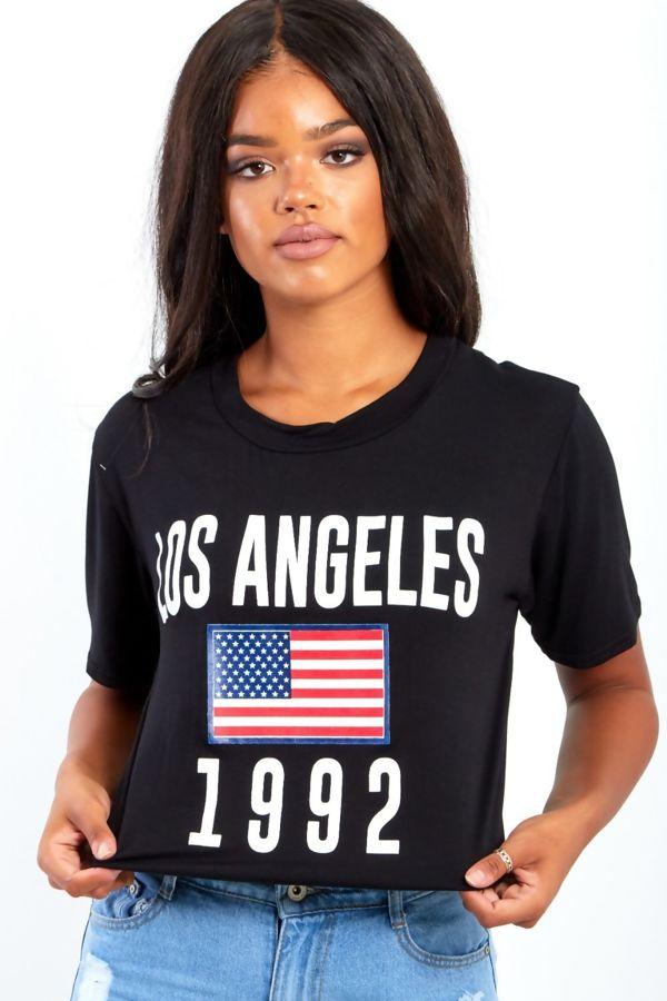 White Los Angeles Flag Printed Crop Top