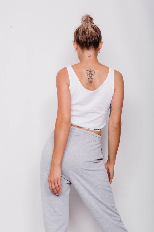 White Love Tape Trim Crop Vest