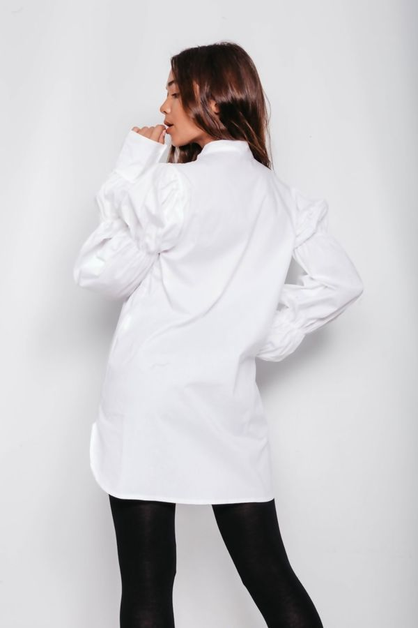 White Marie Sleeve Bow Tie Blouse