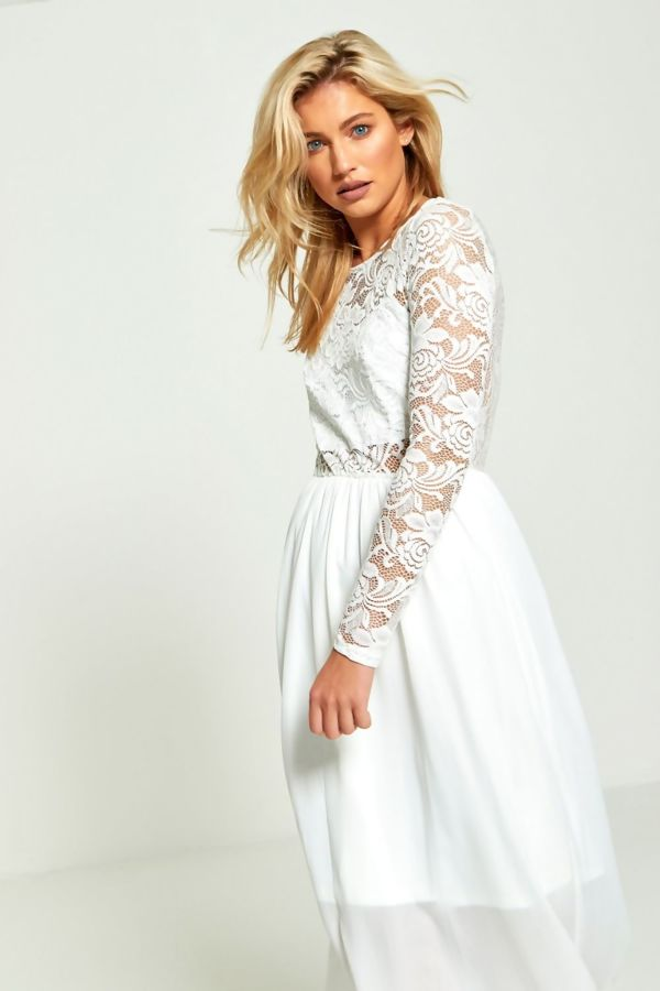 White Maxi Lace Flowing Dress