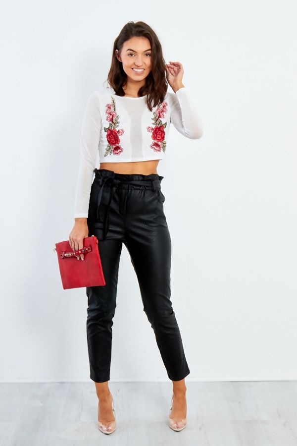 White Mesh Cropped Top With Floral Embroidery