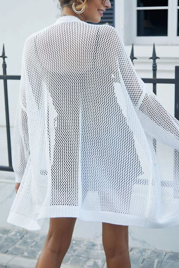 White Mesh Knit Open Cardigan