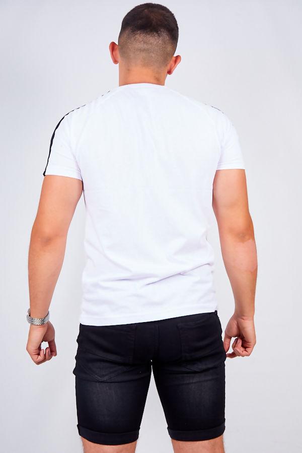 White Monochrome Stripe Crew Neck T-Shirt