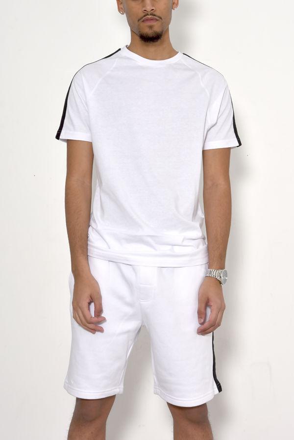 White Monochrome Stripe Short Set