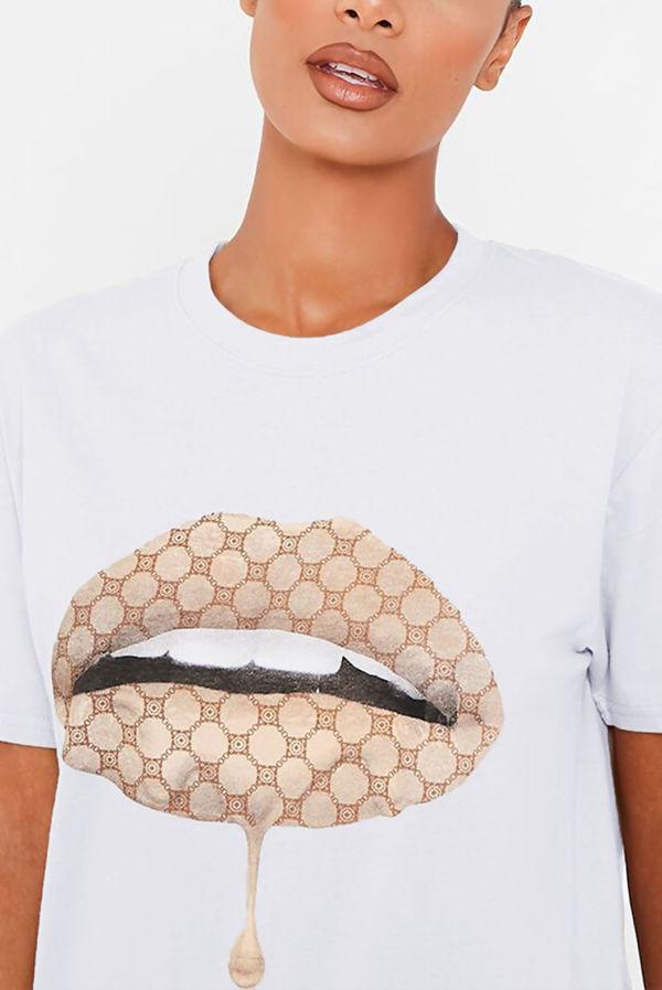 White Monogram Lips Oversized Tee
