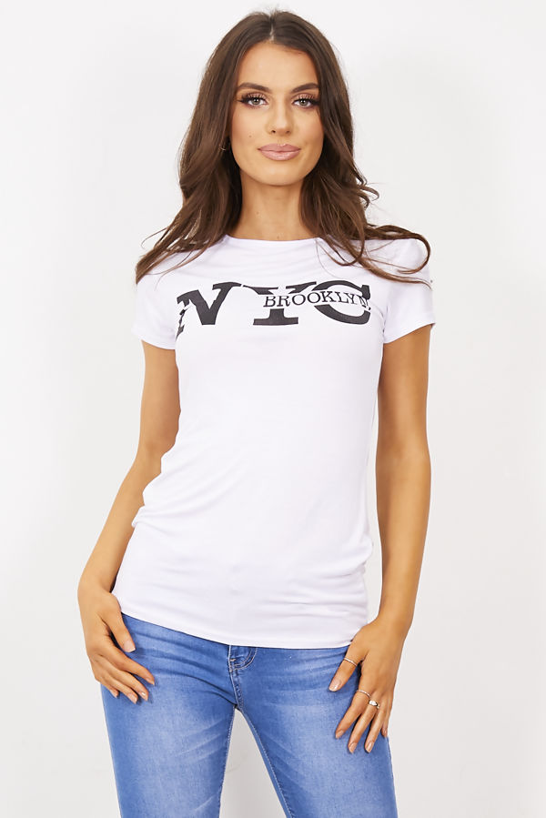 White NYC Brooklyn T-Shirt Top
