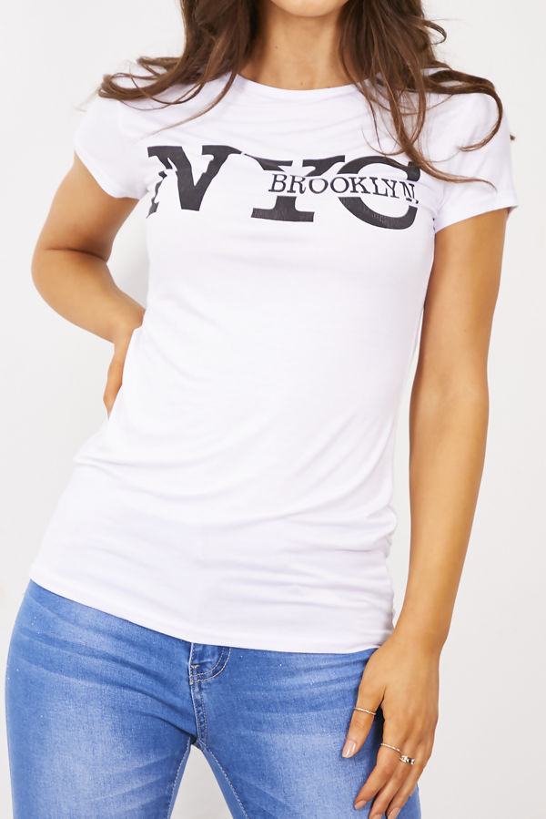 White NYC Brooklyn T-Shirt Top