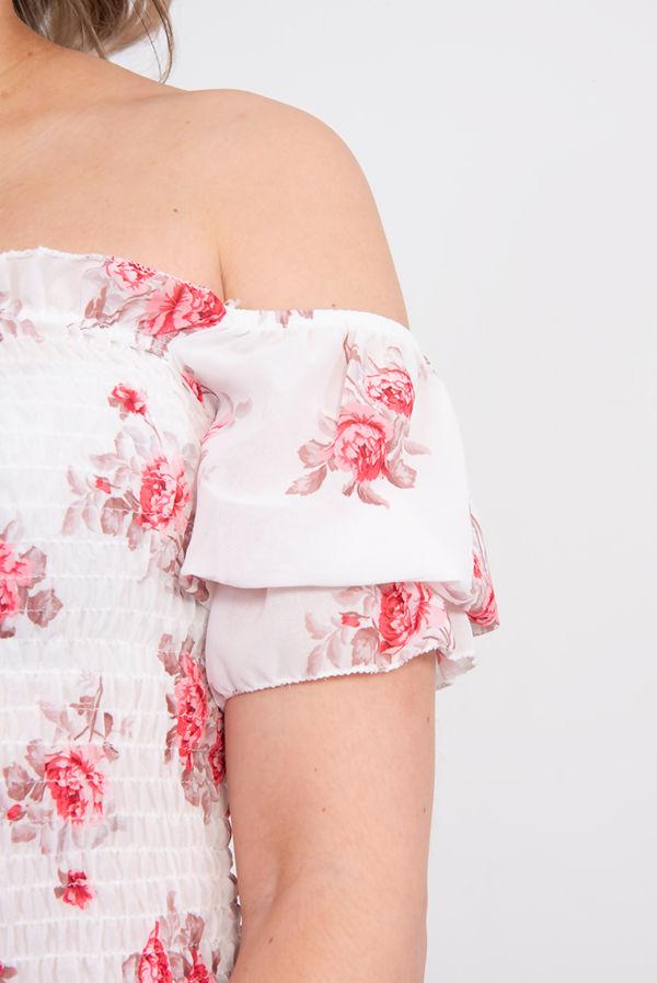 White Off Shoulder Floral Crop Top