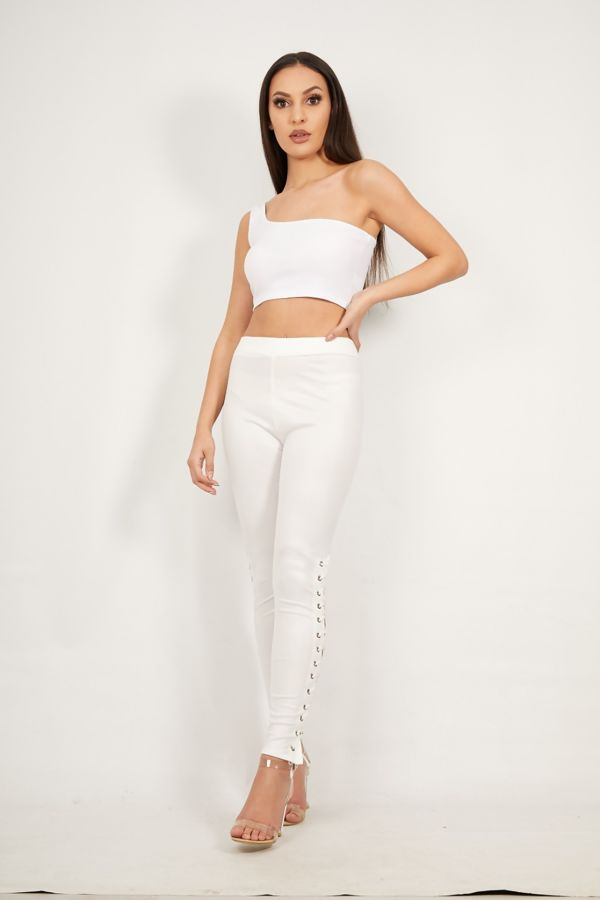 White One Shoulder Crop Top