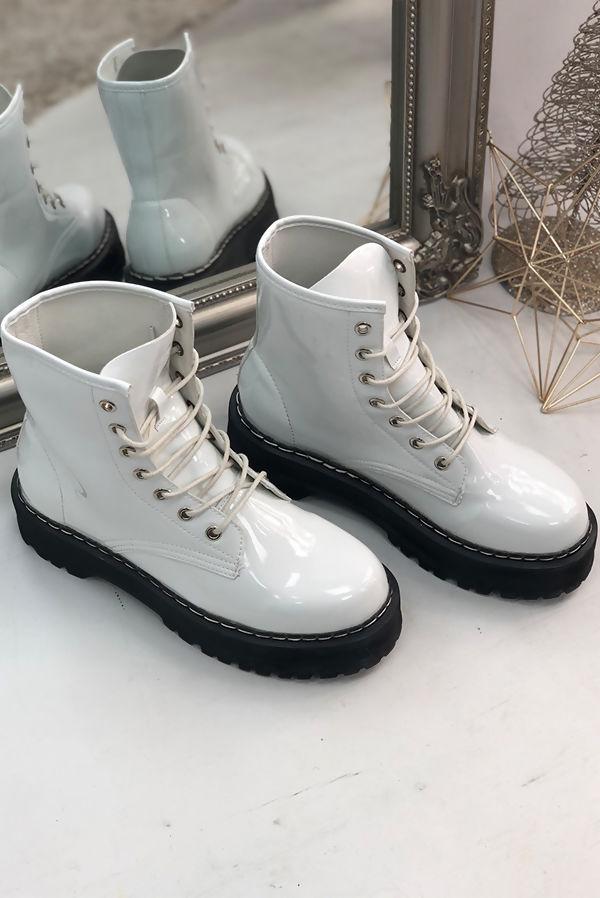 White Patent Barrel Boots