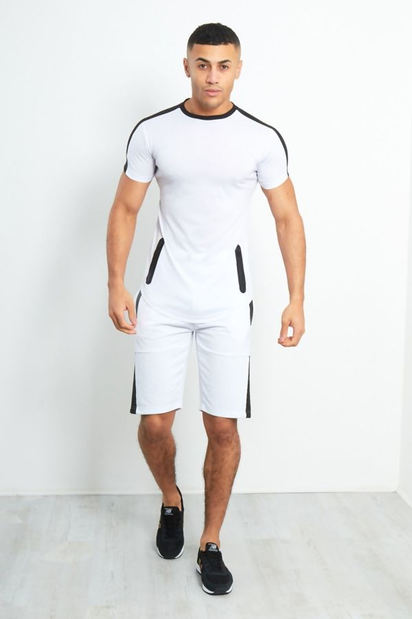 White Placket Zip Short Tracksuit