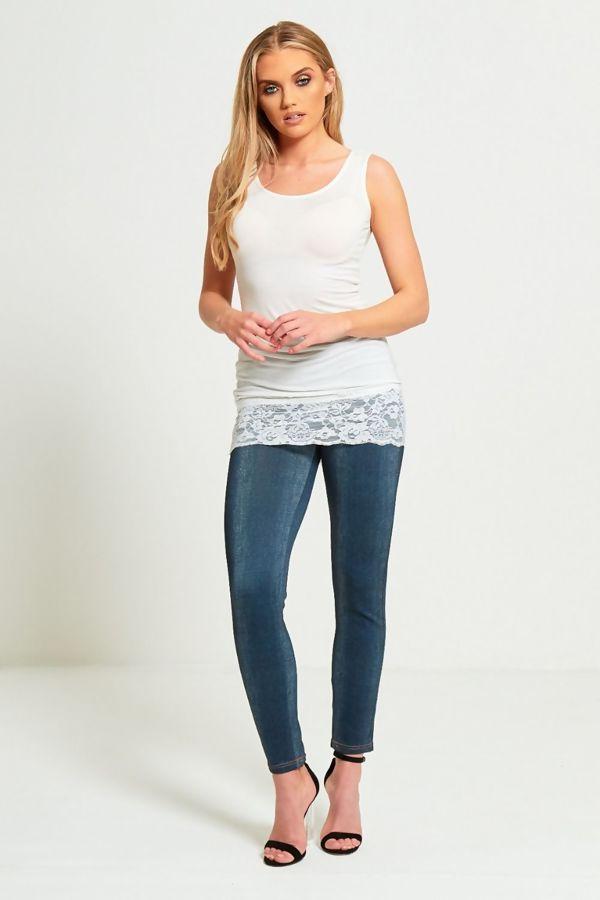 White Plain Basic Sleeveless Lace T-Dress