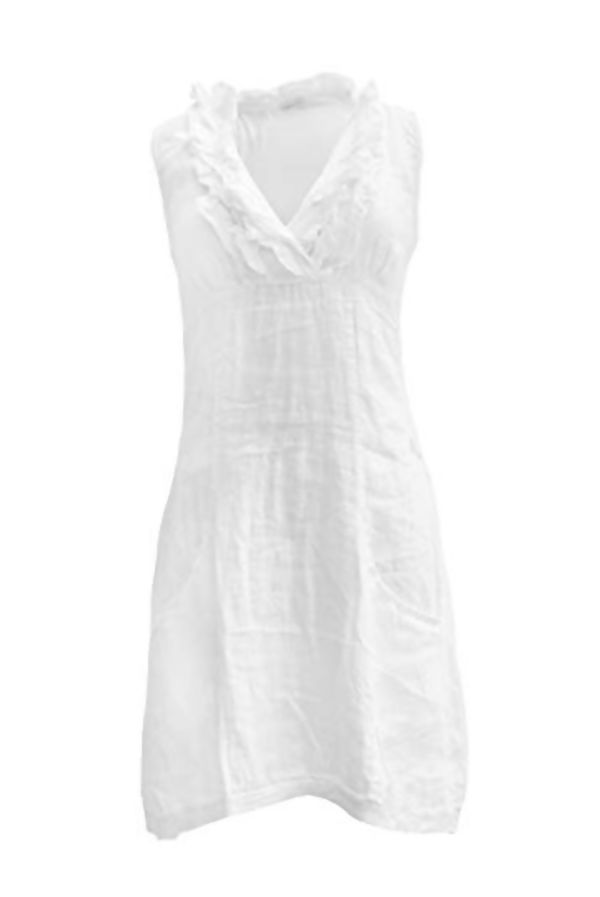 White Plain Linen Ruffle Frill Collar Sleeveless Dress