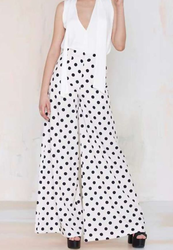 White Polka Dot Wide Leg Trouser