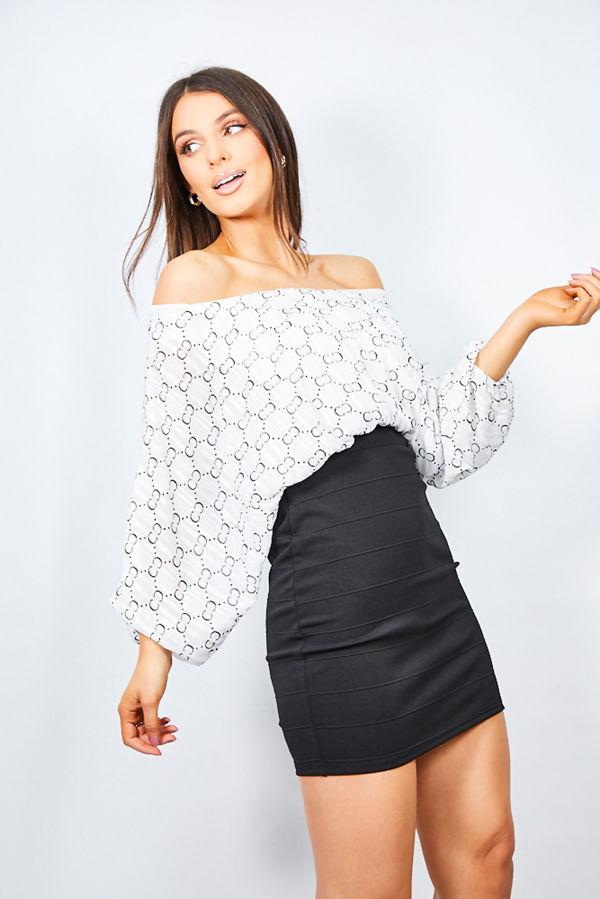 White Printed Bardot Dress