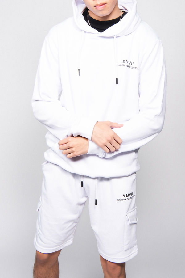 White Printed Hoodie And Shorts Tracksuit