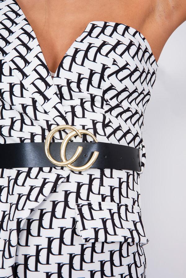 White Printed One Shoulder Belted Blazer Dress