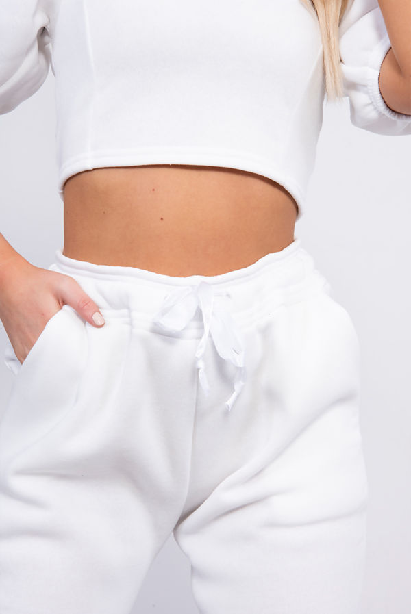White Puff Sleeve Cropped Top And Jogger Lounge Set