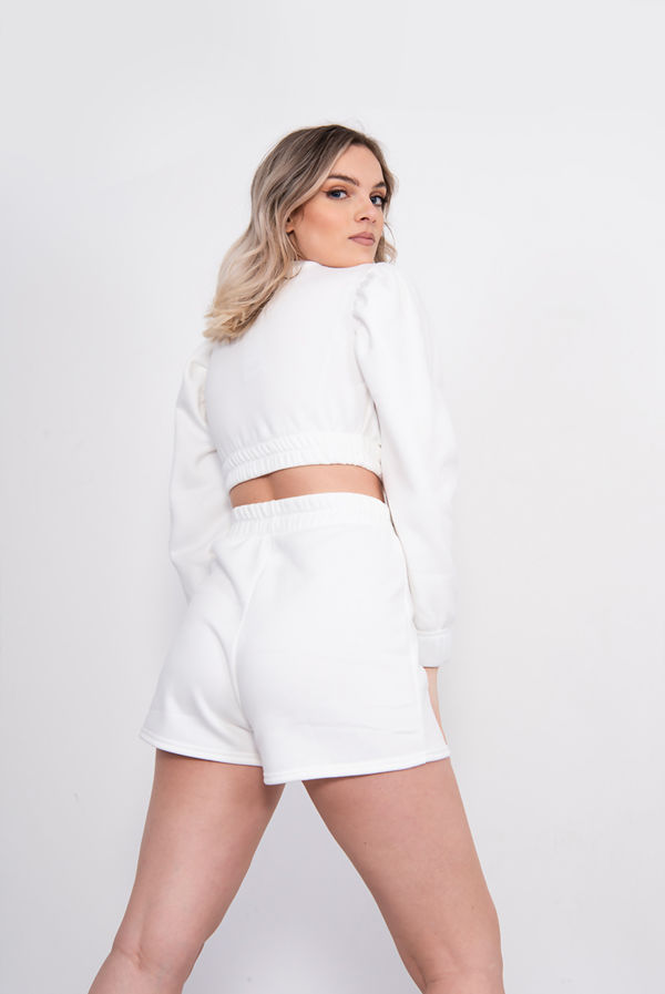 White Puff Sleeve Cropped Top And Short Lounge Set